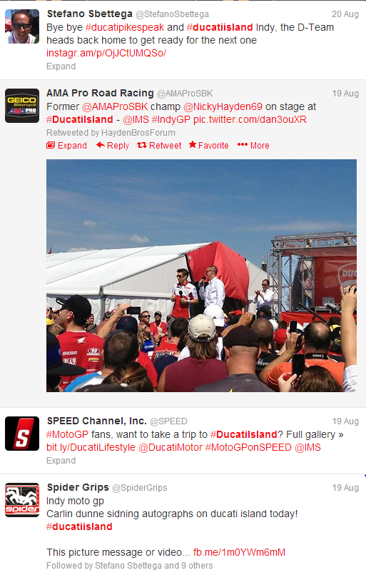Twitter feed from Ducati Island IndyGP