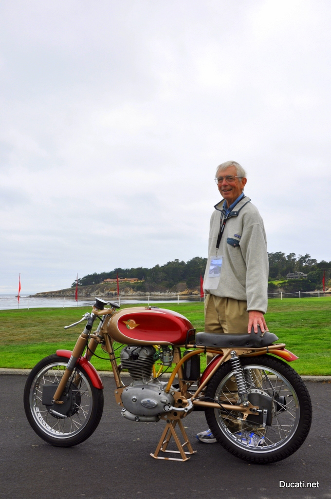 Phil Schilling and the Satified Mind Ducati 175 F3 at the Pebble Beach Concours